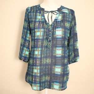 🆕Princess Vera Wang Bow Tie Plaid Blouse NWOT